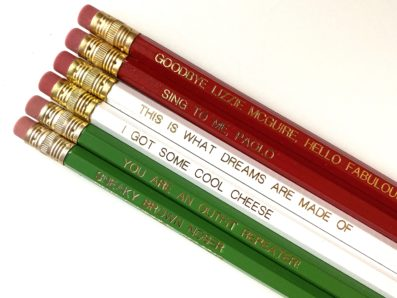 red white and green pencil set with phrases from the Lizzie McGuire Movie